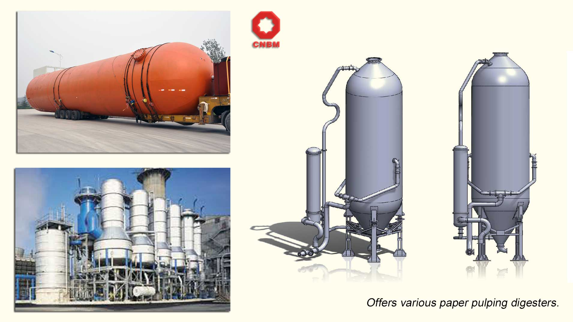 various paper pulp cooking digester